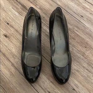 Black pleather heels